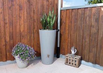 Vaso 2in1 Decor Regenspeicher zinkgrau, 220-Liter Gefäß